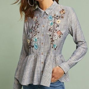 XSP Embroidered Anthropologie peplum Top